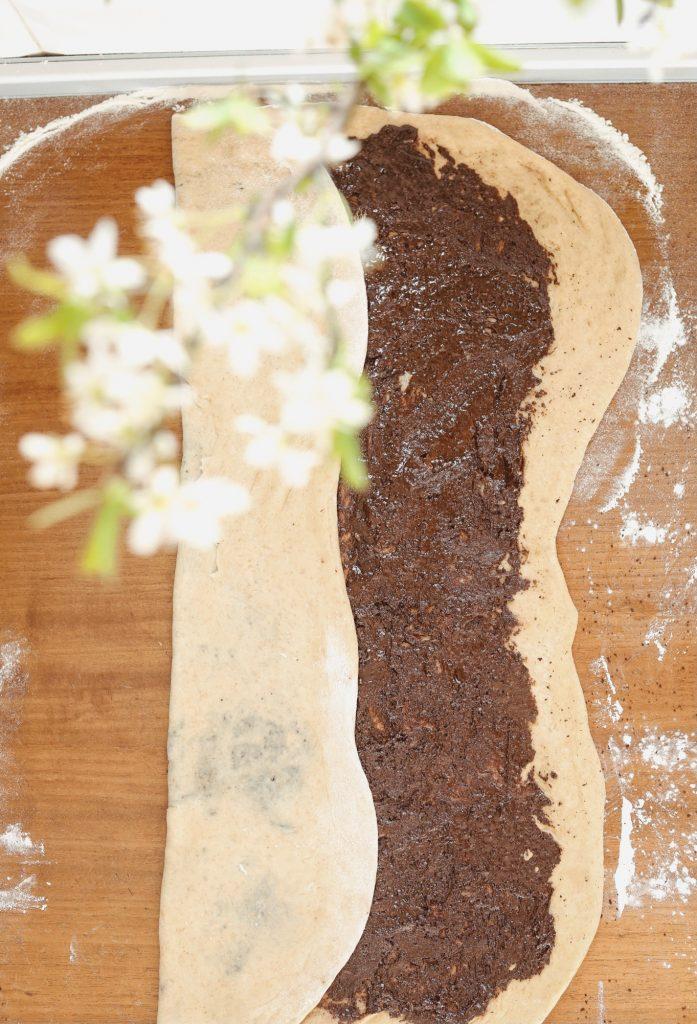 Пълнозърнест козунак с домашен шоколад 6